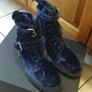 Asos Blue Velvet Combat Ankle Boots Sz 9